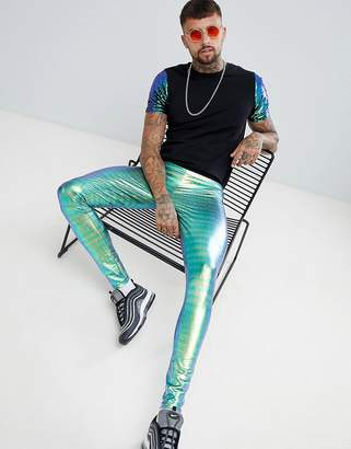 Asos DESIGN festival meggings in iridescent croc