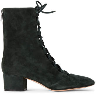 Gianvito Rossi Forest Delia Lace-Up Suede Booties