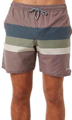 rhythm New Men's Retro Stripe Mens Beach Short Cotton Stretch Red 32