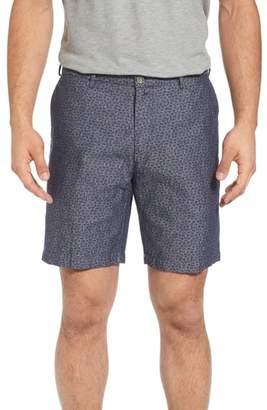 Peter Millar Paisley Chambray Flat Front Shorts
