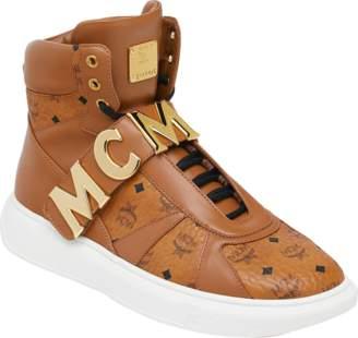 MCM Men's High Top Letter Sneakers In Visetos