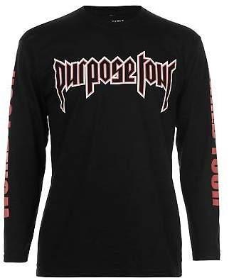 Justin Bieber Official Mens Long Sleeve T Shirt Top Crew Neck Cotton Print