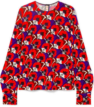 Marni Floral-print Stretch-jersey Blouse - Red