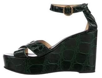 Robert Clergerie Embossed Wedge Sandals