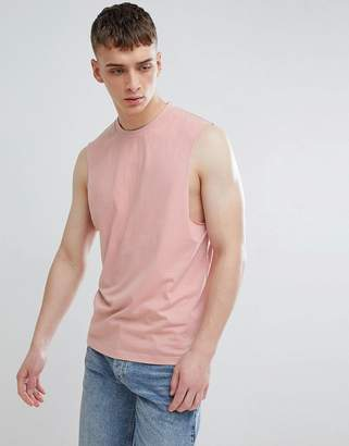 ONLY & SONS Dropped Arm Hole Tank in Misty rose