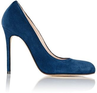 Barneys New York Women's Suede Rounded-Toe Pumps-NAVY $295 thestylecure.com