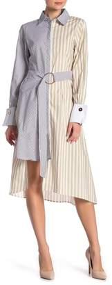Gracia Cutout Back Striped Shirt Dress