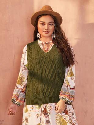 Shein Plus Cable Knit Split Tie Back Sweater Vest