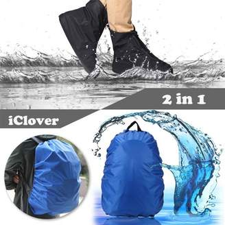 iClover IClover Waterproof Rainproof PVC Fabric Zippered Shoe Covers Rain Boots Overshoes Protector XL Size Sole Length:11.8inch/US 10.5 + Rain Cover 30L-40L Waterproof Backpack Bag Cover for Hiking/Camping