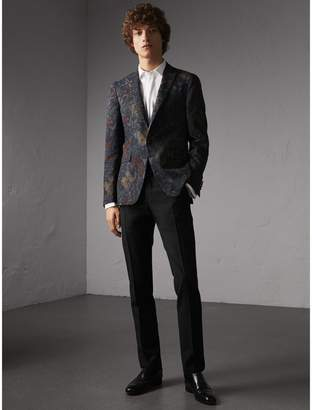 Burberry Slim Fit Beasts Technical Silk Jacquard Tailored Jacket $2,195 thestylecure.com