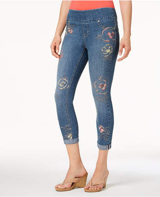 Style&Co. Style & Co Petite Embroidered Pull-On Cropped Jeans, Created for Macy's