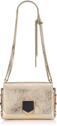 Jimmy Choo LOCKETT PETITE Gold Etched Metallic Spazzolato Leather Shoulder Bag