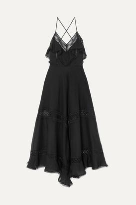 Charo Ruiz Ibiza Sabine Crocheted Lace-paneled Cotton-blend Dress - Black