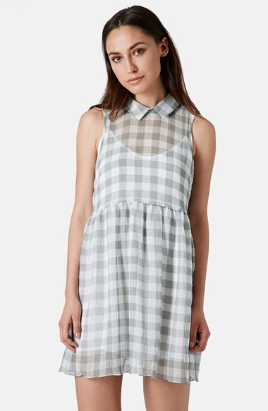Topshop Gingham Crinkled Smock Dress