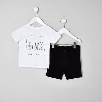 River Island Mini boys white box print T-shirt outfit