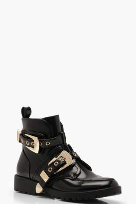 boohoo Chunky Buckle Ankle Boots