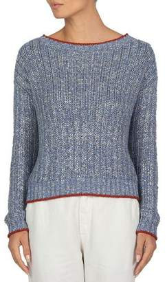 Eleventy Contrast-Trim Metallic-Knit Sweater