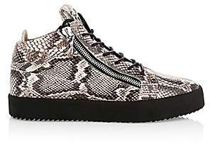 Giuseppe Zanotti Men's Python-Embossed Leather Mid-Top Sneakers