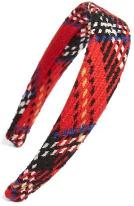 Oscar de la Renta Plaid Wool Tweed Headband