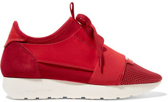 Balenciaga - Race Runner Leather, Mesh, Suede And Neoprene Sneakers - Claret $695 thestylecure.com