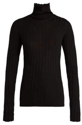 Petar Petrov Karen Roll Neck Ribbed Knit Wool Top - Womens - Black