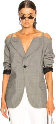 Maison Margiela Cold Shoulder Check Blazer