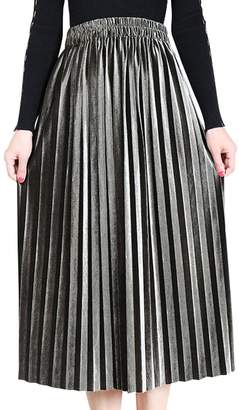 Aivtalk Gilrs Thick Velvet Pleated Skirt Knee Length Vintage Metallic Soft Solid A-Line Elastic High Waist Dress Size M