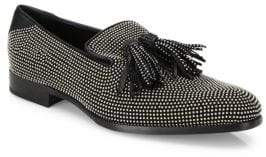 Jimmy Choo Micro Studded Leather Slip-On Shoes