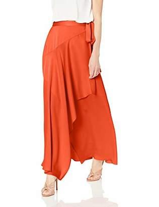 BCBGMAXAZRIA Women's Asymmetrical Satin Maxi Wrap Skirt