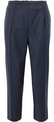 Brunello Cucinelli Cropped Pinstriped Wool-Blend Straight-Leg Pants