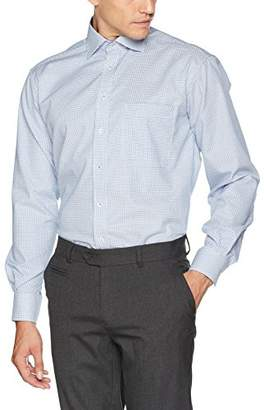 Eterna Men's Comfort Fit Langarm Blau Kariert Mit Classic Kent-Kragen Formal Shirt,XXL