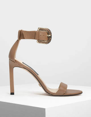 Charles & Keith Leather Stitch Detail Buckle Ankle Strap Sandals