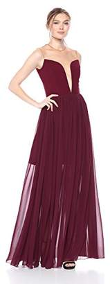 Dress the Population Women's Bridgette Plunging FIT & Flare Solid Flowy Gown