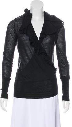 Jean Paul Gaultier Virgin Wool Ruffled Cardigan