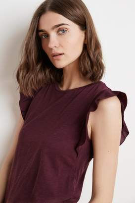 Velvet by Graham & Spencer MARVEL COTTON SLUB RUFFLE SLEEVE TEE