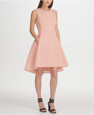 DKNY Mesh High-Low Fit & Flare Dress