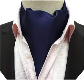 Blend of America MENDENG Men's Silk Solid Color Ascot Dress Necktie Formal Self Cravat Tie