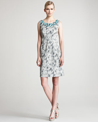 Lela Rose Embroidered Jacquard Sheath Dress