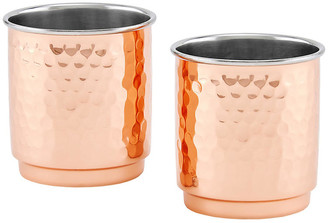 One Kings Lane Set of 2 Iver Hammered Tumblers - Copper