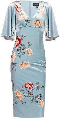 Nissa - Midi Floral Printed Dress With Butterfly Sleevs