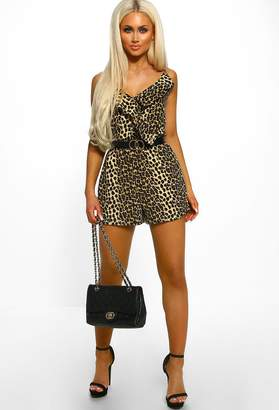 186bb7bf091 Pink Boutique Try And Stop Me Nude Leopard Print Frill Front Playsuit