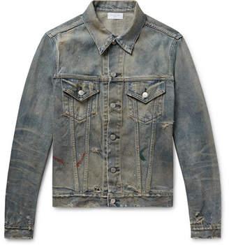 John Elliott Thumper Iii Distressed Paint-Splattered Denim Jacket