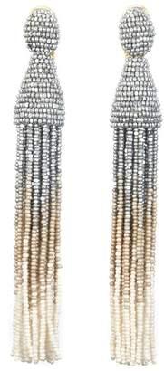 Oscar de la Renta Ombre Beaded Tassel Clip On Drop Earrings