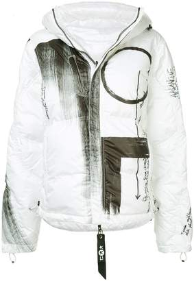 Kru reversible graffiti print jacket