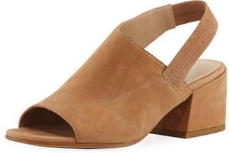 Eileen Fisher Leigh Nubuck Slingback Block-Heel Sandals