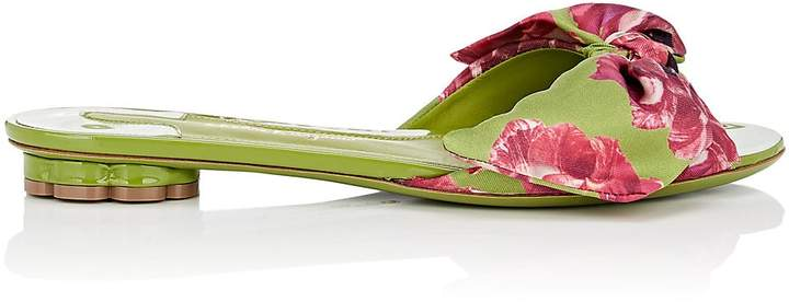 Salvatore Ferragamo Women's Flower-Heel Silk Slide Sandals