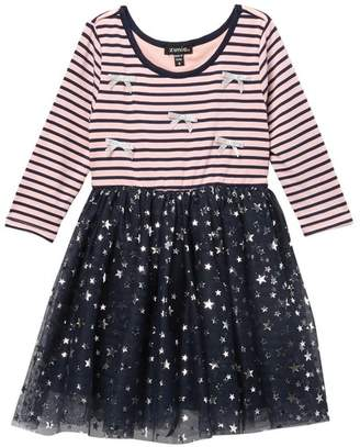 Zunie 3\u002F4 Sleeve Striped & Printed Dress (Toddler & Little Girls)