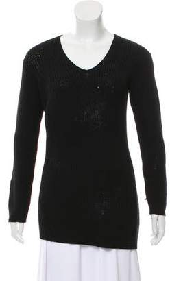 Prada Ribbed V-Neck Sweater