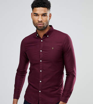 Farah TALL Skinny Fit Button Down Oxford Shirt In Burgundy