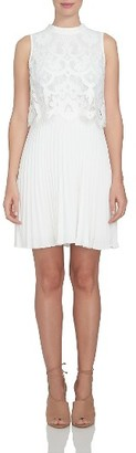 Women's Cece Pleat Chiffon & Lace Popover Dress $149 thestylecure.com